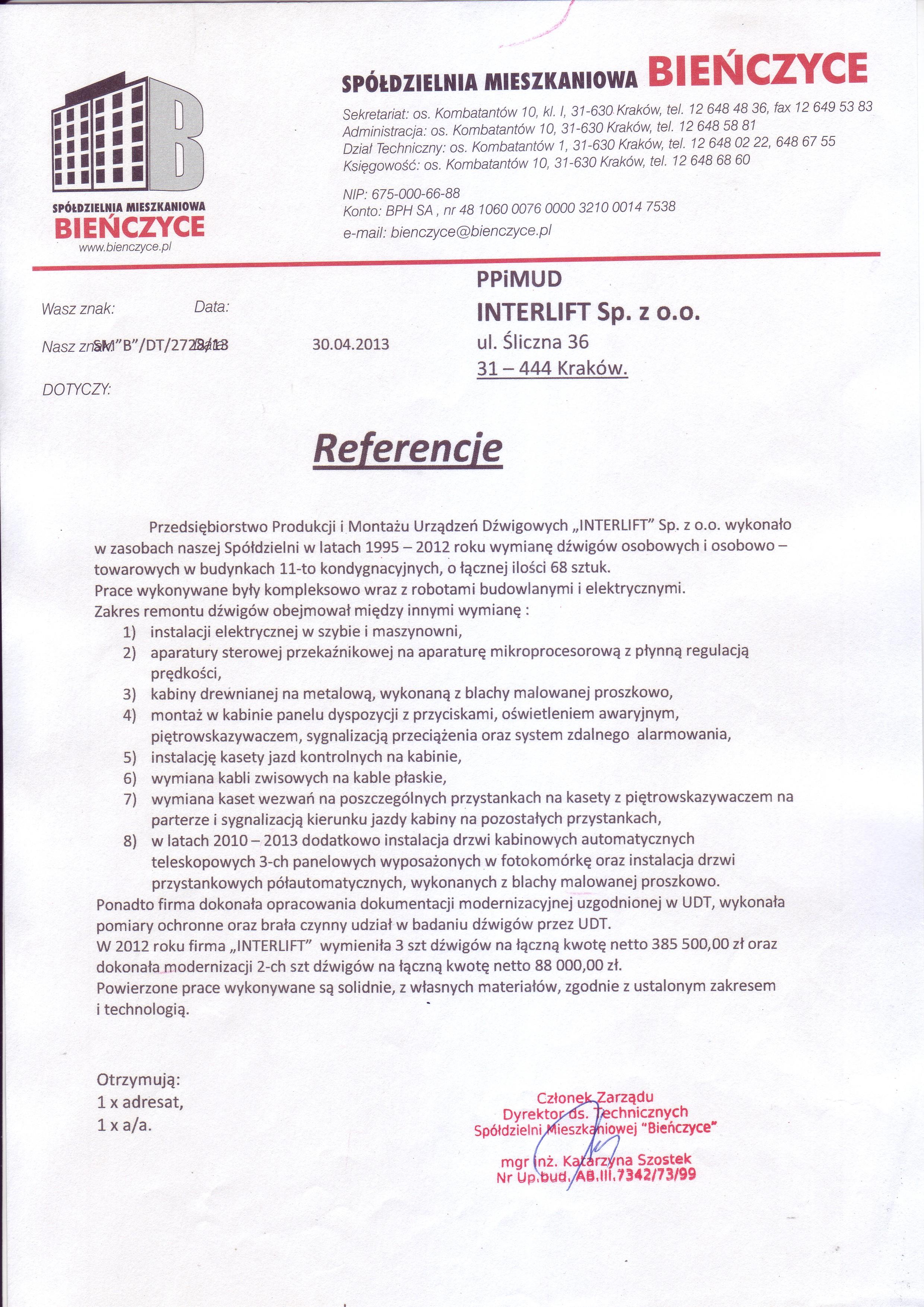 Referencje SM Bieńczyce